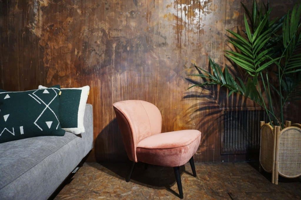 Fauteuil Lounge - Rose Poudre (2)