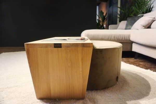 Table en bois + pouf en olive gold (4)